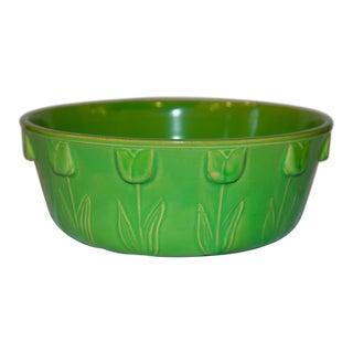 Mid 20th Century British Ceramic Green Tulip Bowl For Sale