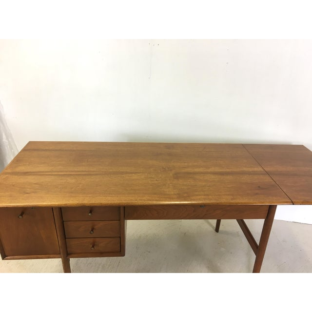 1960s Drexel Parallel Walnut Extension Desk by Barney Flagg For Sale - Image 5 of 9