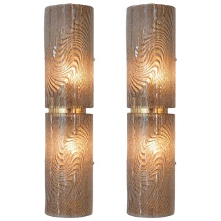 "Vintage Murano ""Graniglia"" Glass Wall Sconces - A Pair"