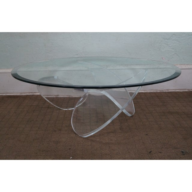 Knut Hesterberg Glass Top Lucite Base Coffee Table - Image 3 of 10