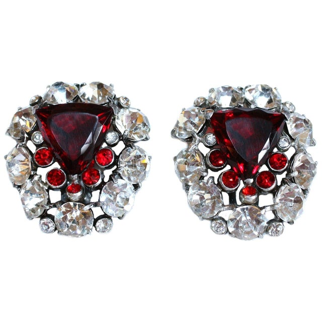 1930s Red Faceted Glass & Rhinestone Dress Clips - a Pair For Sale In Los Angeles - Image 6 of 6