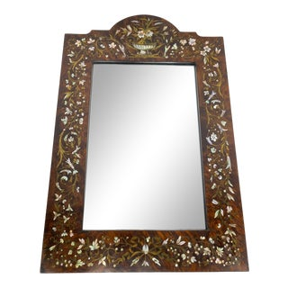 Antique Mother of Pearl and Brass Veneered Mirror For Sale