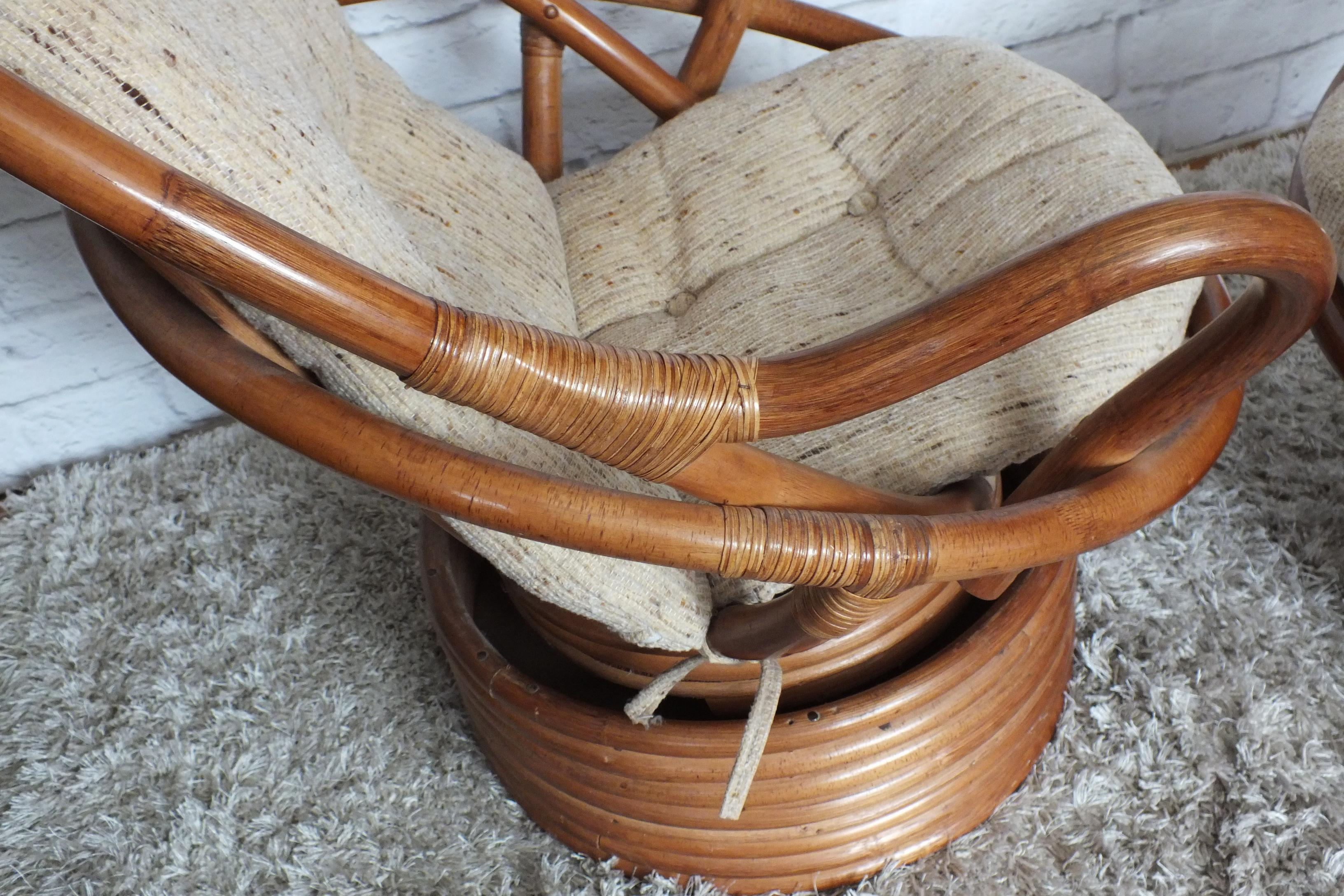 Vintage Bamboo Rattan Swivel Rocking Chair   A Pair   Image 6 Of 9