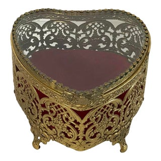 Hollywood Regency Gold Metal and Glass Trinket Box For Sale