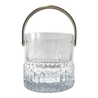 1970's French Vintage Crystal Ice Bucket With Fluted Ice Glass Design For Sale