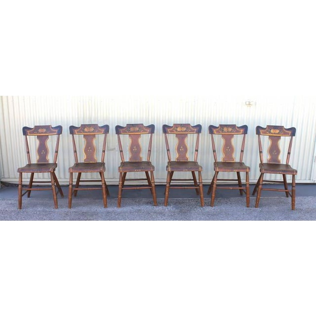 Country Set of Six Original Painted 19th Century Pennsylvania Plank-Bottom Chairs For Sale - Image 3 of 9