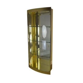 Mastercraft Mid Century Modern Brass Bow Glass Curio Display Cabinet For Sale