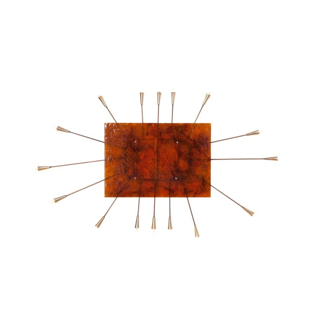Wall Mounted Sun Lamp in Brass & Resin For Sale