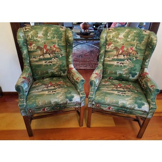 Equestrian Wing Back Chairs - Horse and Hound - Vintage Preview