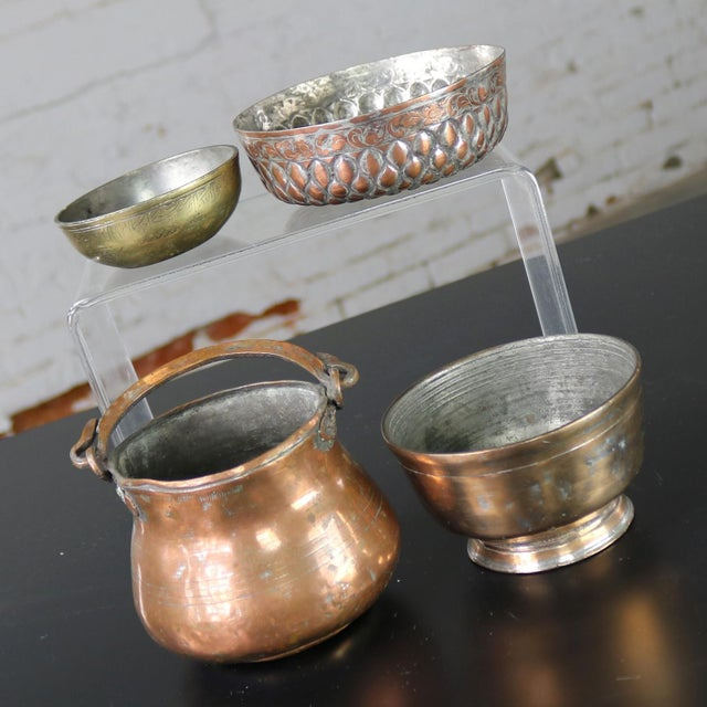 Antique Hand-forged Turkish Copper and Brass Bowls - Set of 4 For Sale - Image 10 of 13
