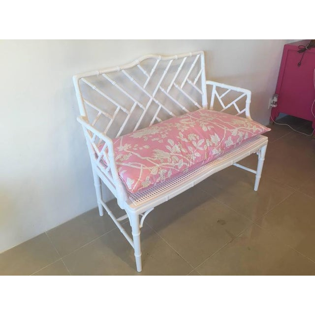 Chinese Chippendale Faux Bamboo Lacquered Pink Cushion Arm Bench For Sale - Image 9 of 12