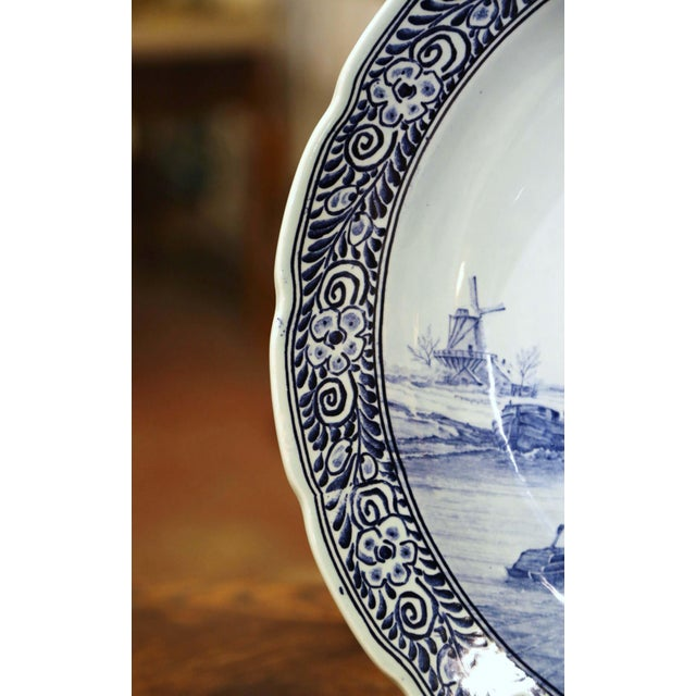 Ceramic Mid-Century Dutch Hand Painted Royal Sphinx Maastricht Delft Platter For Sale - Image 7 of 11