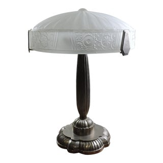 1960s French Art Deco Frosted Glass and Nickel Table Lamp For Sale