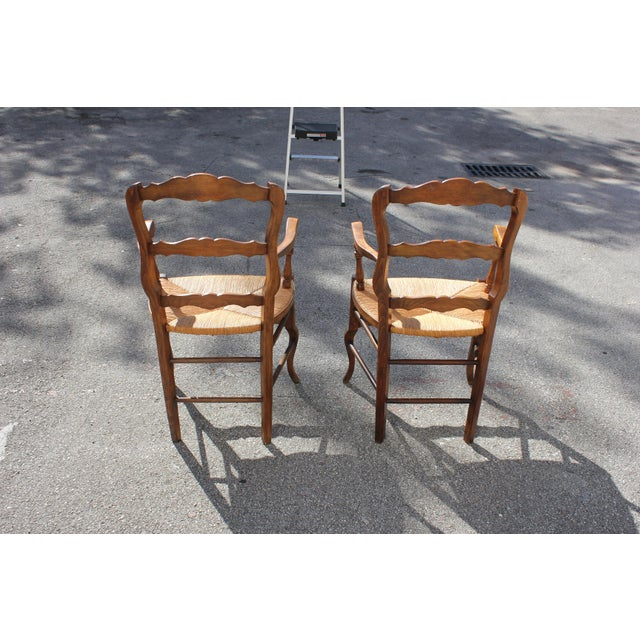 Brown Early 20th Century French Country Rush Seat Solid Walnut Berger Chairs- a Pair For Sale - Image 8 of 13