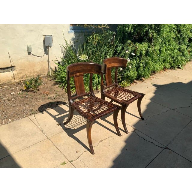 Mid-Century Modern Klismos Walnut Chairs - a Pair For Sale - Image 3 of 10