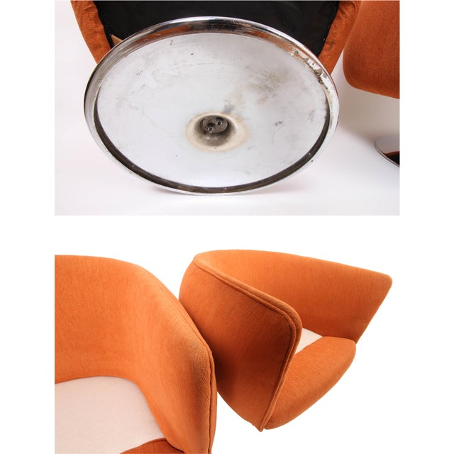 Vintage Swiveling Lounge Chair Pair - Milo Baughman, Adrian Pearsall Style - Original Vintage Design With Newer Fabric - Earthy Orange For Sale - Image 9 of 11