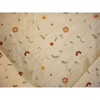 Lee Jofa Lodore Embroidery Gold Embroiderd Floral Upholstery Fabric 11-7/8y For Sale