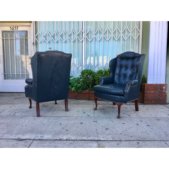 Vintage Tufted Leather Chairs - A Pair - Image 3 of 7