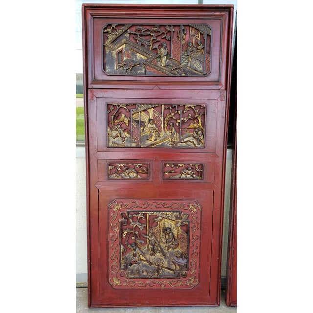 Up for sale is a Pair of Late 19th Century Chinese Carved Gilded Lacquered Wood Imperial Court Motif Panels! They each...