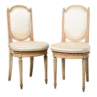 1920-1940 Vintage French Louis XVI Wood & Cane Side Chairs - a Pair