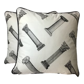 Cotton Printed Column Pattern Pillows With Black Canvas Backs - A Pair For Sale