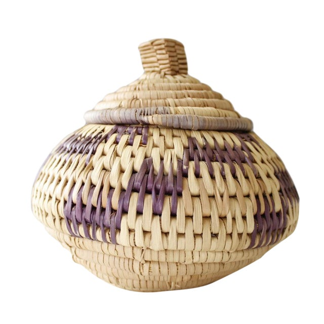 Vintage Woven Coil Basket With Round Purple Lid - Image 1 of 6