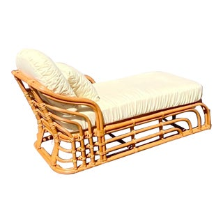 Vintage Boho Chic Brown Jordan Bamboo Chaise Lounge For Sale