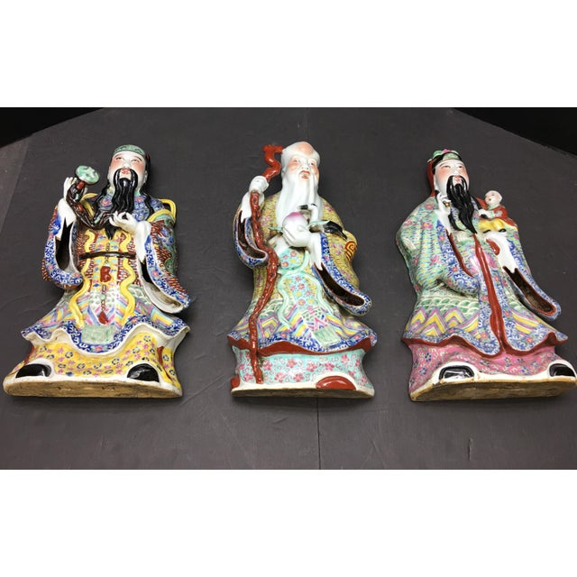 Chinese Porcelain Deities, Fu, Lu, Shou Wall Hanging Figures - Set of 3 For Sale - Image 10 of 10