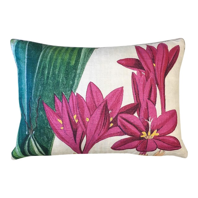 Design Legacy Hot Pink Floral Pillow For Sale