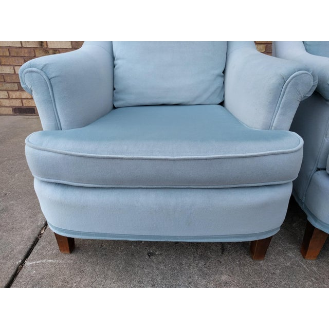 Vintage Blue Velvet Rolled Arm Club Chairs by Sam Moore Furniture - A Pair - Image 8 of 11