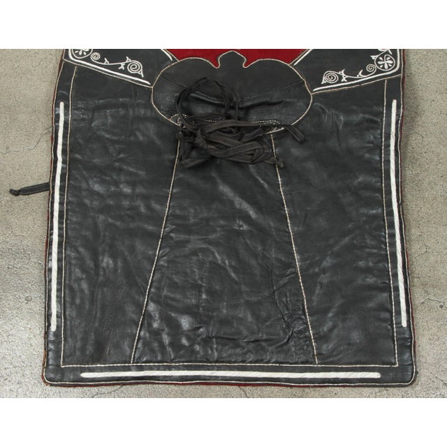 Moroccan Horse Saddle Blanket Black and Red For Sale In Los Angeles - Image 6 of 10