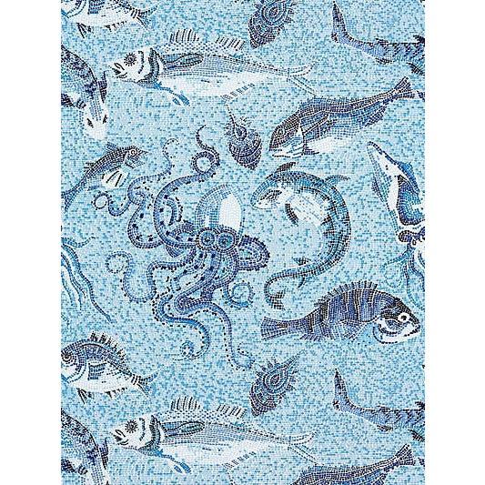 Sample, Scalamandre Mikonos Wallpaper, Blue For Sale