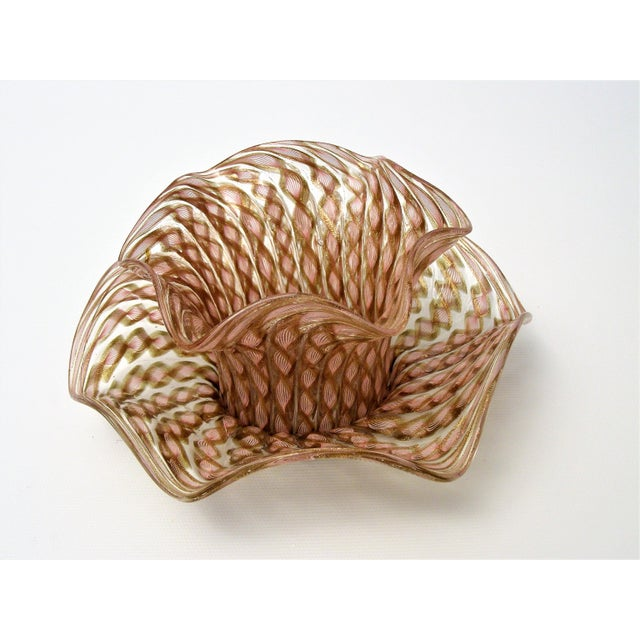 Vintage Venetian Zanfirico Latticino Glass Finger Bowl and Matching Plate by Salviati- 1950s Italy Italian Mid Century Modern MCM Millennial Pink For Sale - Image 11 of 11
