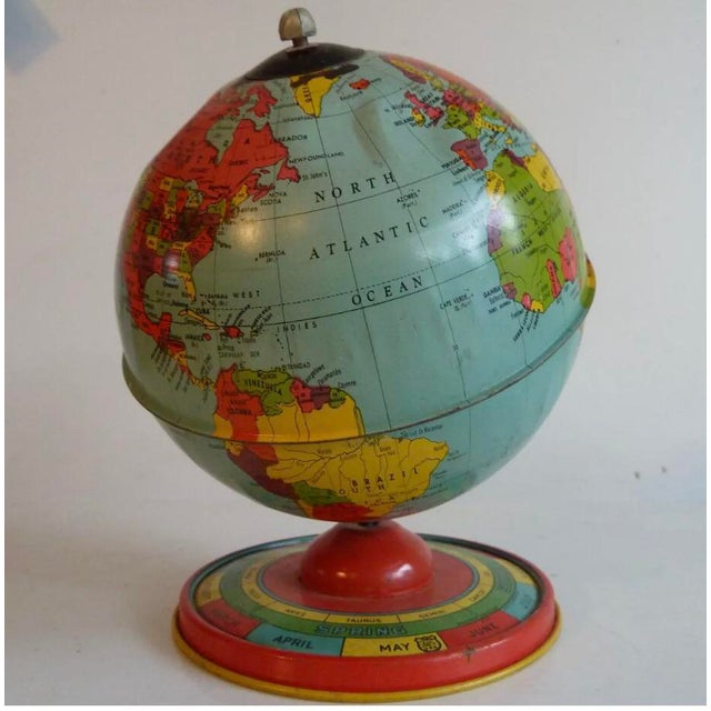 Children's Chein & Co 1940's Vintage Metal Tin Globe For Sale - Image 3 of 3