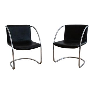 Pair Saporiti Lens Chairs in Black Leather For Sale