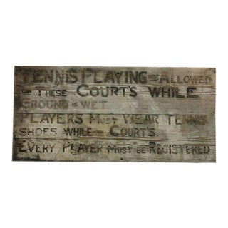 1920s Vintage Tennis Club Hand Painted Wood Sign For Sale