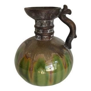 Mid-Century Glazed Pottery Pitcher Vase For Sale