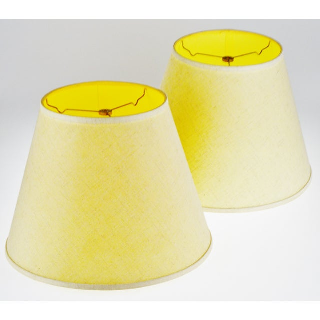 Vintage New Brunswick Linen Empire Shape Lamp Shades - A Pair Condition consistent with age and history. Please use zoom...