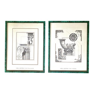Post Modern Architectural Prints With Faux Malachite Frame - a Pair For Sale