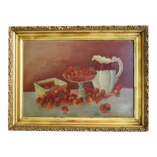 Antique Colorful Strawberries Still Life Painting For Sale