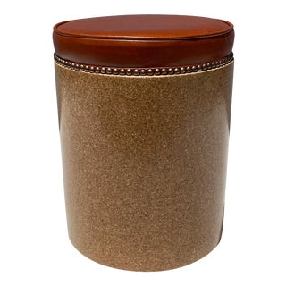 Cork Side Table / Stool in Vintaged Cognac Leather For Sale