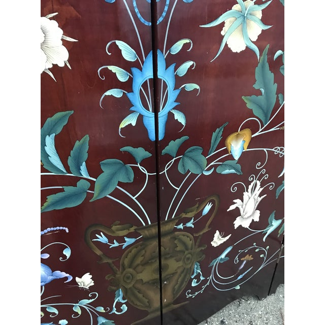 1970s 1940's Era Vintage Painted Folding Screen For Sale - Image 5 of 11