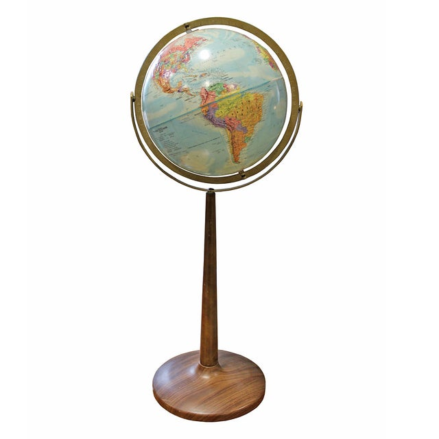 Vintage 1960s Globe on Faux Wood Stand - Image 2 of 3