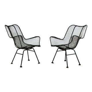 Mid Century Modern Pair of Black Woodard Sculptura Outdoor Patio Armchairs 1950s For Sale