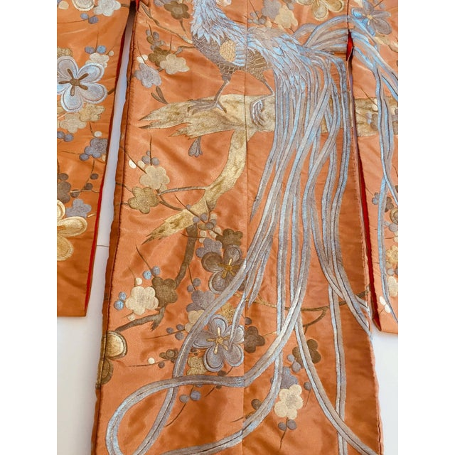 Asian Vintage Brocade Japanese Ceremonial Kimono in Orange, Gold and Silver For Sale - Image 3 of 13