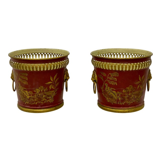 Pair of Signed French Tole Chinoiserie Cachepots / Planters For Sale
