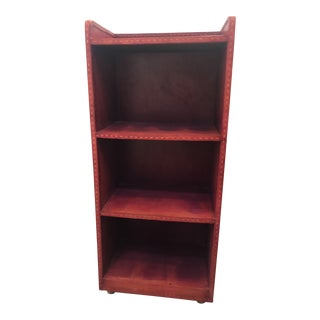 Leather Bookcase - Purple/Red Tones For Sale