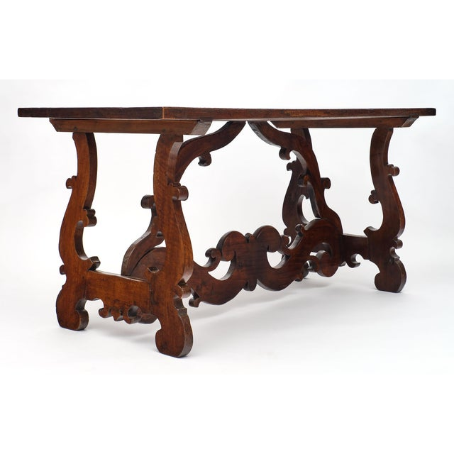 """Antique Spanish Renaissance """"Lyra"""" Trestle Table For Sale In Austin - Image 6 of 10"""