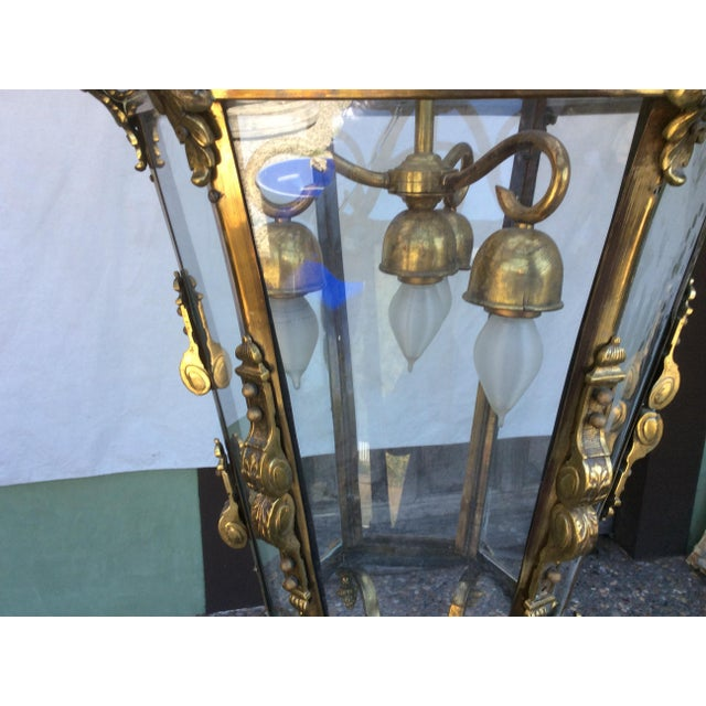 Antique Brass English Hall Lantern For Sale In San Antonio - Image 6 of 10
