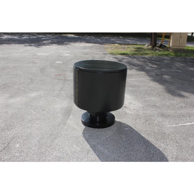 1940s French Art Deco Cylinder Ebonized Dry Bar For Sale - Image 11 of 13
